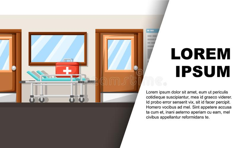 Empty hospital corridor. Clinic hallway interior with hospital bed. First aid kit. Medical concept. Vector illustration. Web site vector illustration