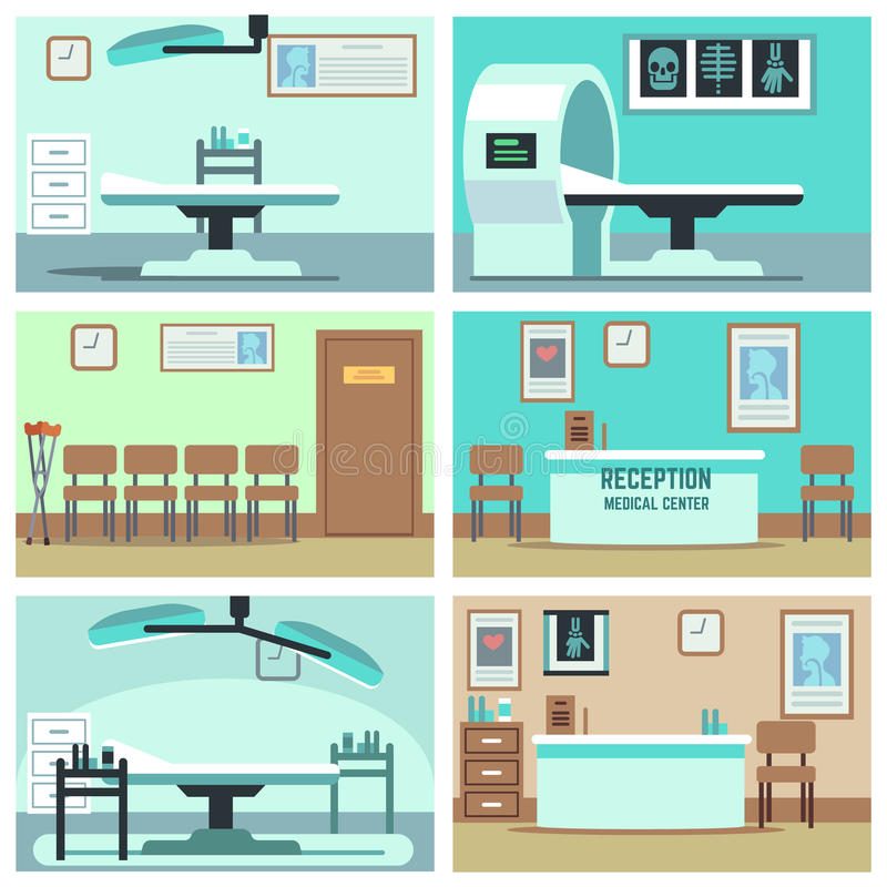 Empty hospital, doctor office, surgery room, clinic vector interiors set vector illustration