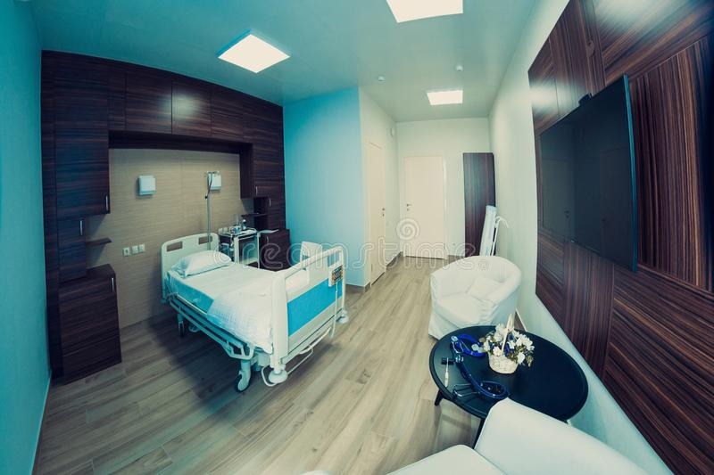 Empty hospital room for one client royalty free stock photography