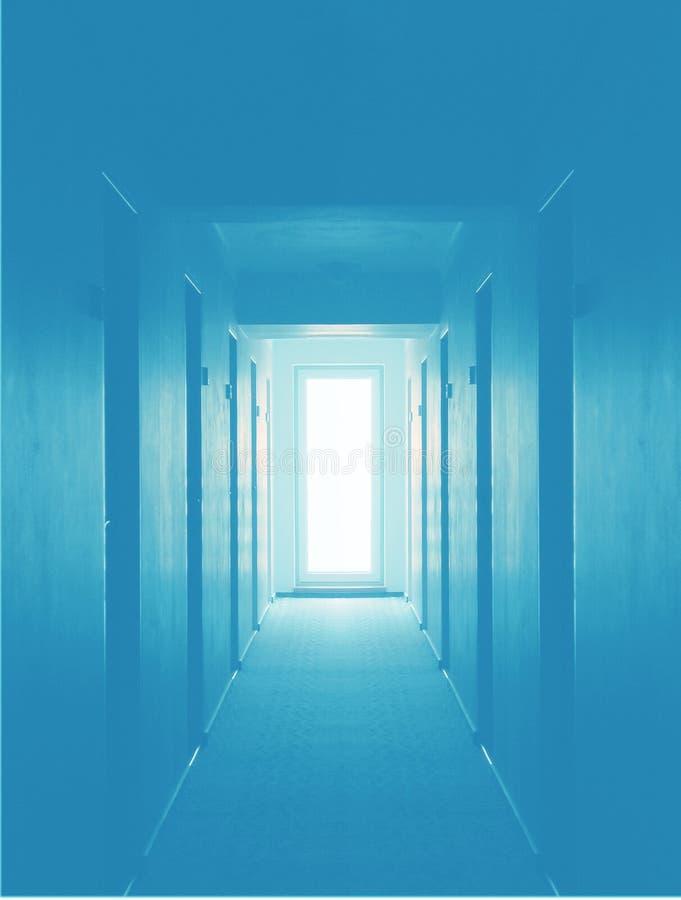 Empty hotel floor - blue stock photo