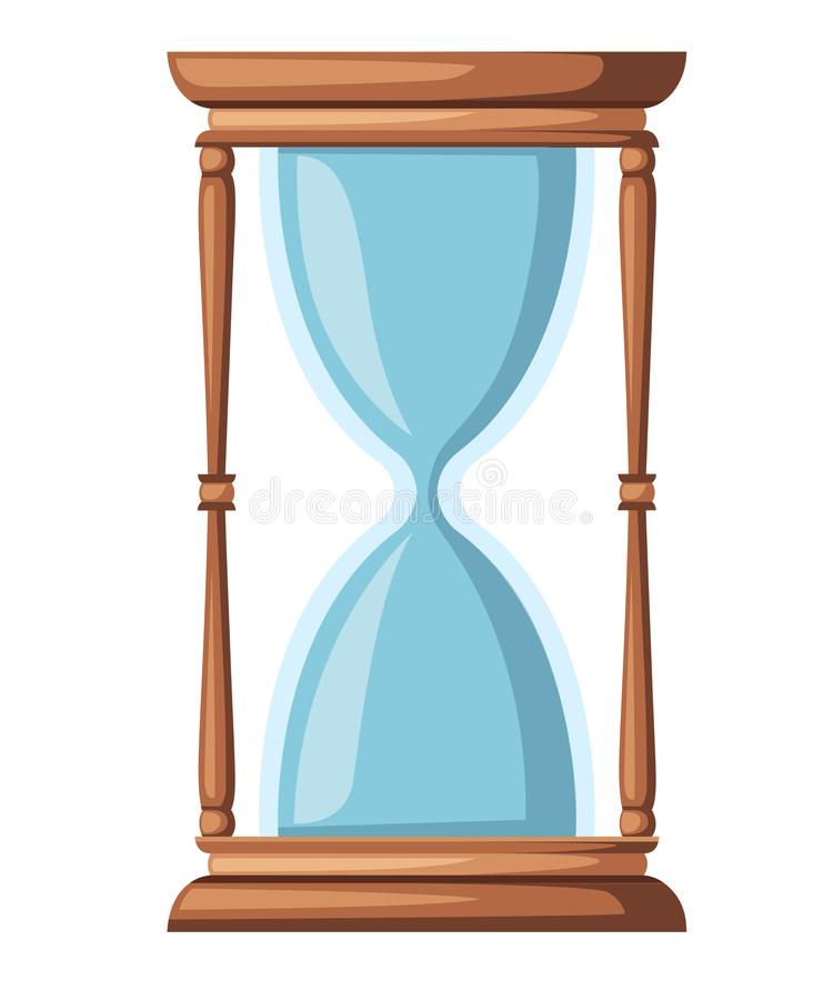 Empty hourglass. Classic design of timer sand. Wooden material. Flat vector illustration isolated on white background vector illustration