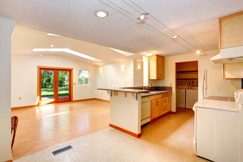Open Kitchen Design With Vaulted Living Room