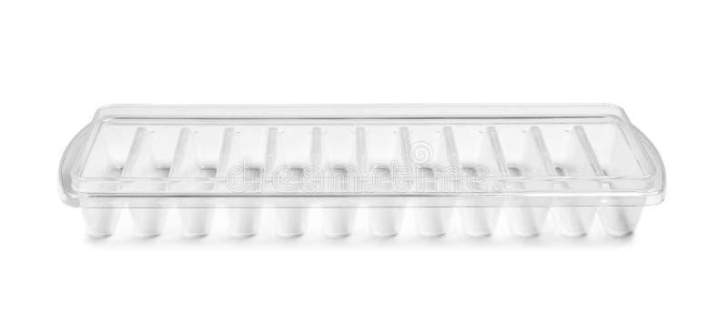 Empty ice cube tray. On white background stock image