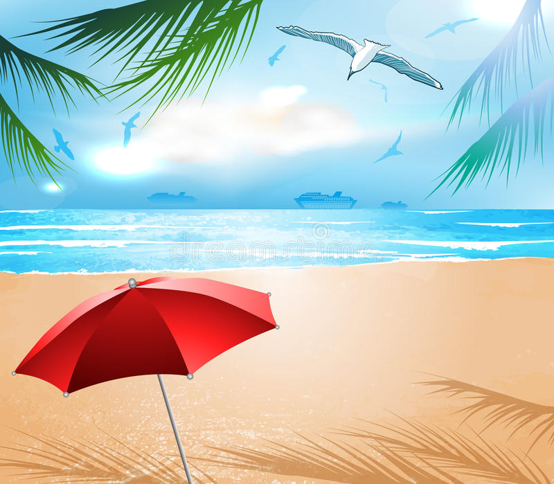 Download Empty idyllic beach stock vector. Image of coast, coastline - 31750637