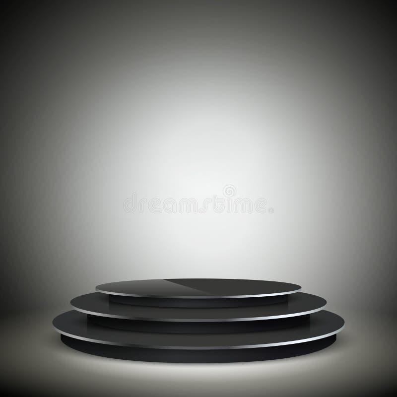 Empty illuminated black podium vector illustration