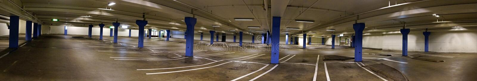 Empty indoor car park. Panoramic view of empty indoor car park stock photography