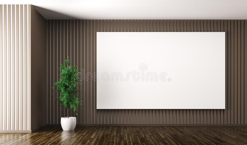 Empty interior with big poster on the wall 3d render vector illustration