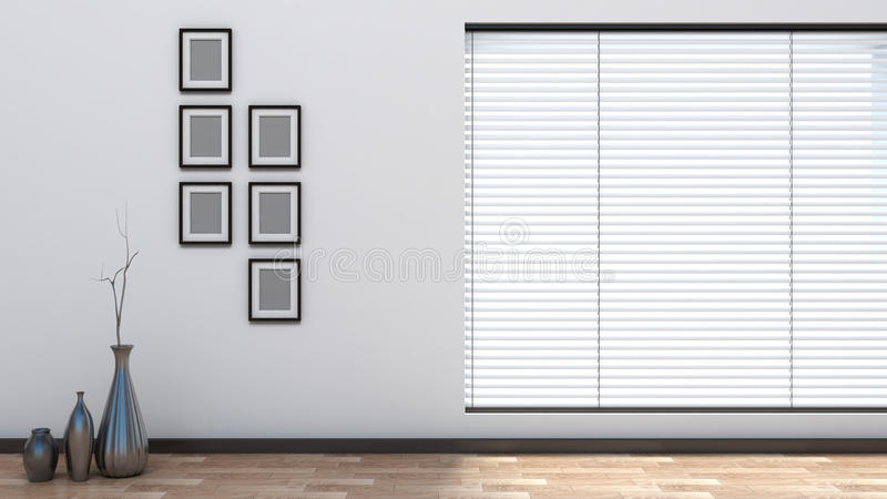 Empty interior with blinds. Office stock illustration