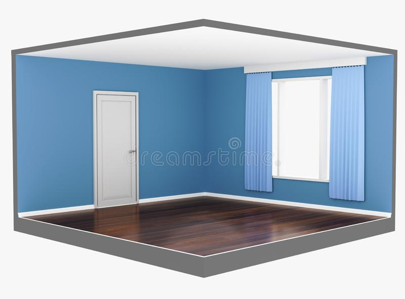 Empty interior of a blue room with a large window and a dark parquet vector illustration