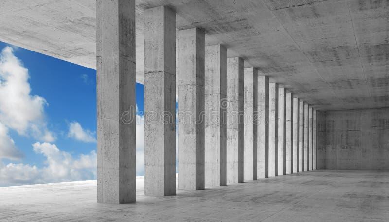 download empty interior with concrete columns 3d illustration stock illustration image 53071581