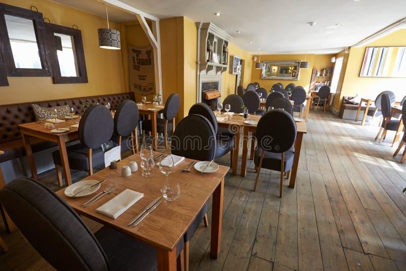 Empty Interior Of Contemporary Restaurant stock photo