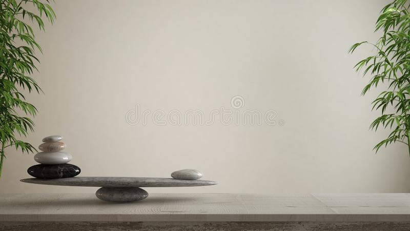 Empty interior design concept, feng shui, zen idea, wooden vintage table or shelf with marble stone balance over blank white backg royalty free illustration