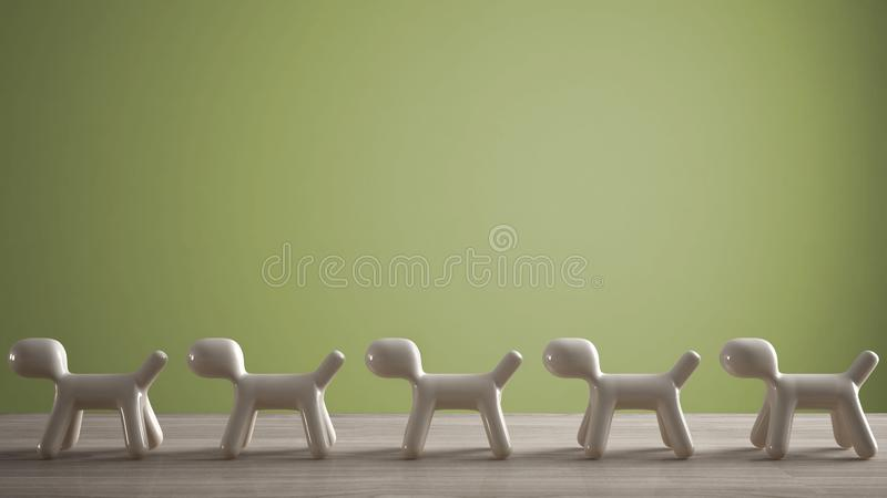 Empty interior design concept, wooden table or shelf with line of five stylized dogs, dog friendly concept, love for animals,. Animal dog proof home, green stock photos