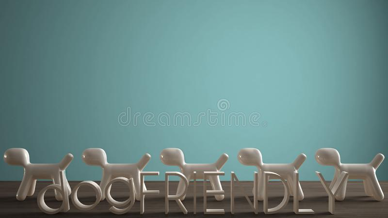 Empty interior design concept, wooden table or shelf with line of five stylized dogs, dog friendly concept, love for animals,. Animal dog proof home, turquoise royalty free illustration