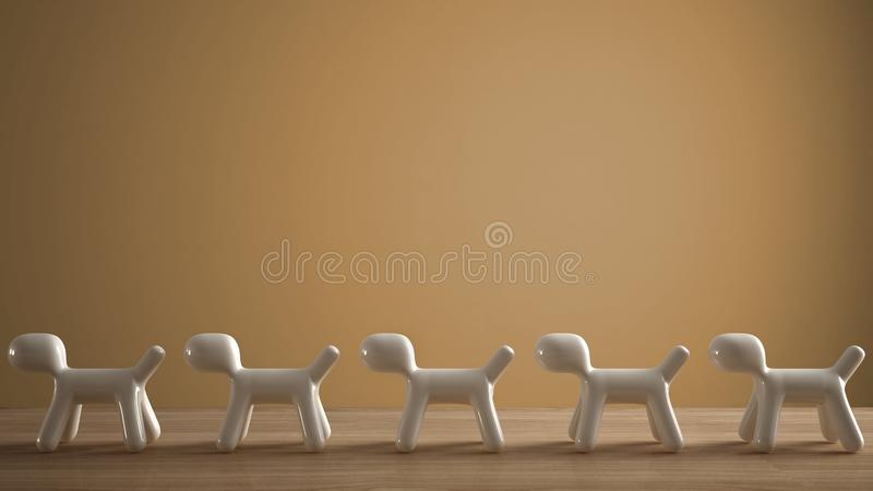 Empty interior design concept, wooden table or shelf with line of five stylized dogs, dog friendly concept, love for animals,. Animal dog proof home, orange royalty free stock photos