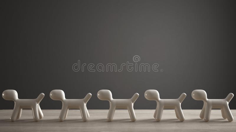 Empty interior design concept, wooden table or shelf with line of five stylized dogs, dog friendly concept, love for animals,. Animal dog proof home, dark gray royalty free illustration
