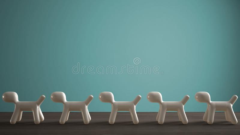 Empty interior design concept, wooden table or shelf with line of five stylized dogs, dog friendly concept, love for animals,. Animal dog proof home, turquoise stock image