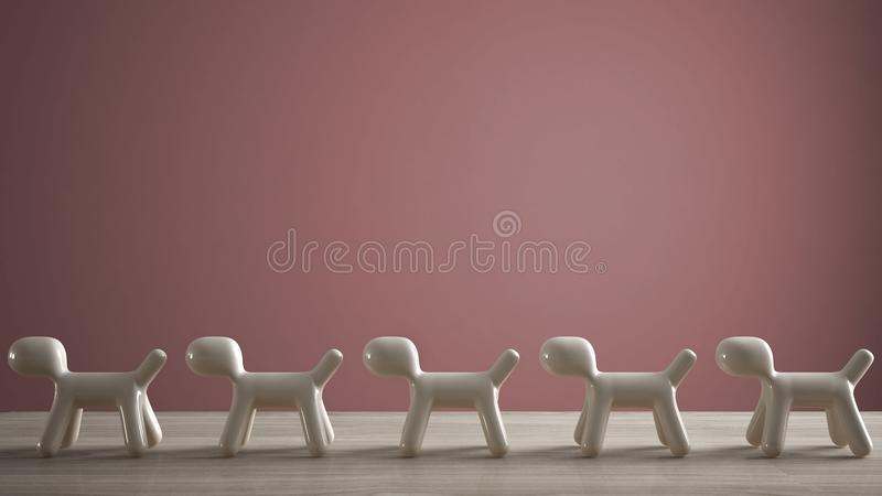 Empty interior design concept, wooden table or shelf with line of five stylized dogs, dog friendly concept, love for animals,. Animal dog proof home, pink color stock photos