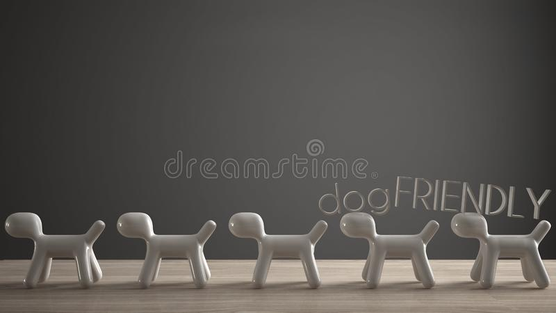 Empty interior design concept, wooden table or shelf with line of five stylized dogs, dog friendly concept, love for animals,. Animal dog proof home, dark gray vector illustration