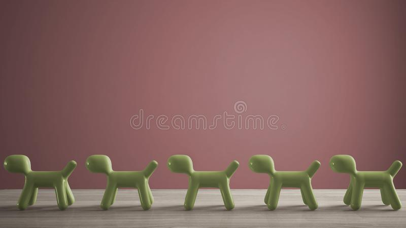 Empty interior design concept, wooden table or shelf with line of green stylized dogs, dog friendly concept, love for animals,. Animal dog proof home, pink royalty free stock images