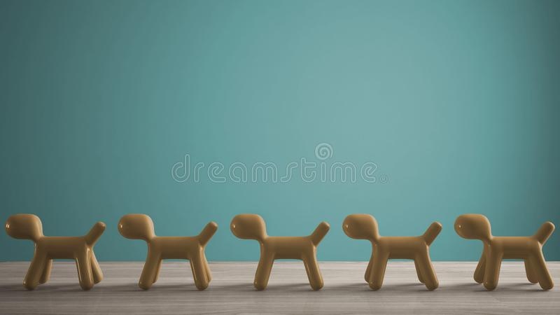Empty interior design concept, wooden table or shelf with line of yellow stylized dogs, dog friendly concept, love for animals,. Animal dog proof home, blue stock photo