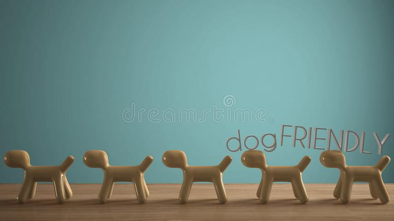Empty interior design concept, wooden table or shelf with line of yellow stylized dogs, dog friendly concept, love for animals,. Animal dog proof home, blue royalty free illustration