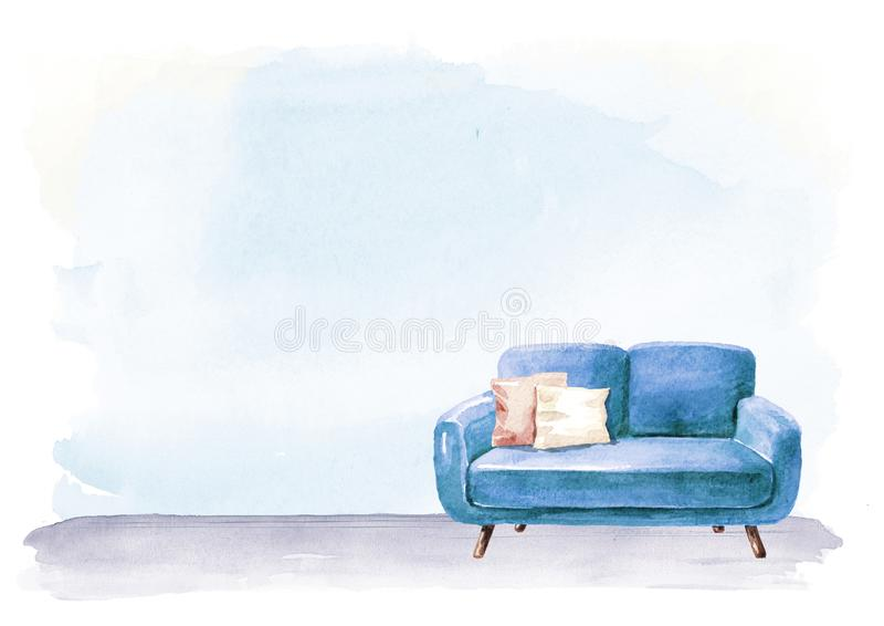 Empty interior design with copy space. Sofa and lamp, blank wall. Watercolor hand drawn illustration, isolated on white background royalty free illustration