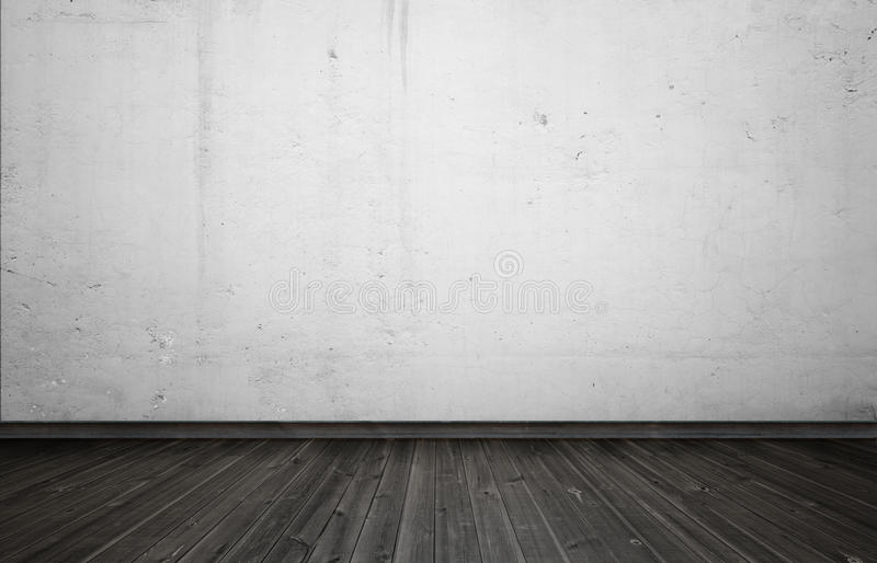 download empty interior for design white concrete wall and black wooden floor stock illustration