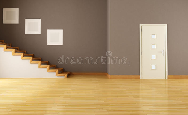 Empty interior with door and staircase stock illustration