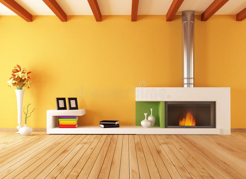 Empty interior with minimalist fireplace stock photos