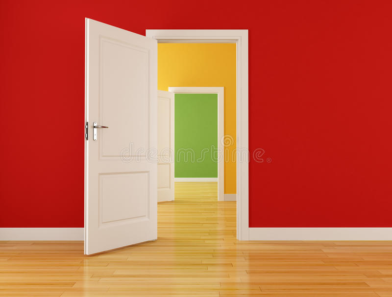 Empty interior with open doors royalty free stock photography