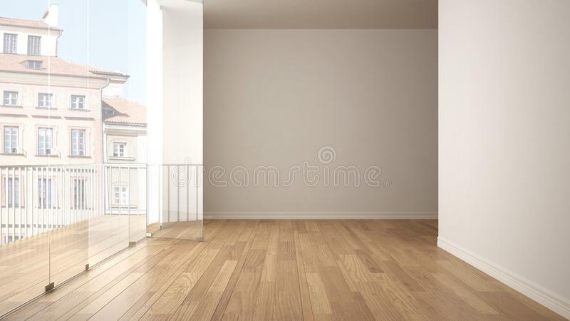 Empty interior with parquet floor and big panoramic terrace. City, old town panorama in the background. Eco house interior design. Empty interior with parquet stock photography