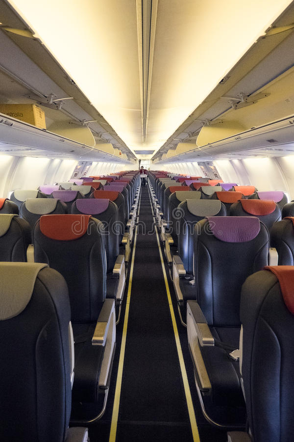 Empty interior of passenger plane royalty free stock photography