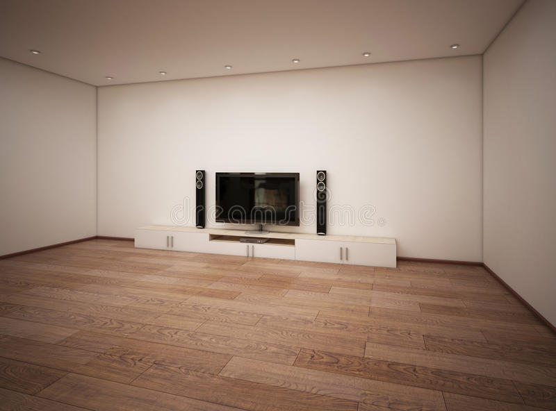 Empty interior of room with TV. 3d render vector illustration