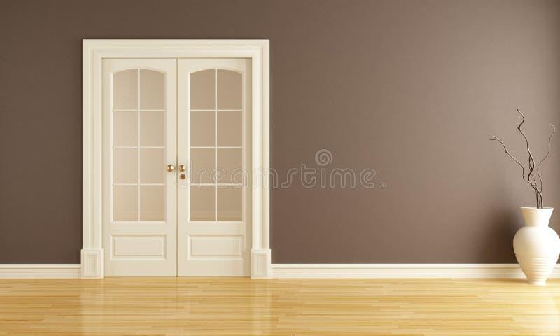 Empty interior with sliding door stock illustration