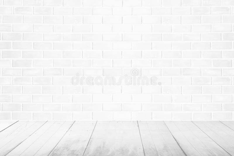 Empty interior vintage room with white brick wall and white wood stock illustration