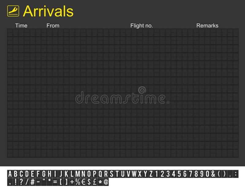 Empty International Airport Arrivals Board Royalty Free Stock Image