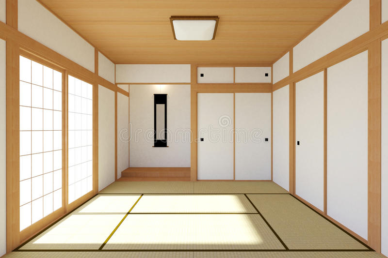 Empty Japanese Living Room Interior In Traditional And Minimal Design Stock Illustration