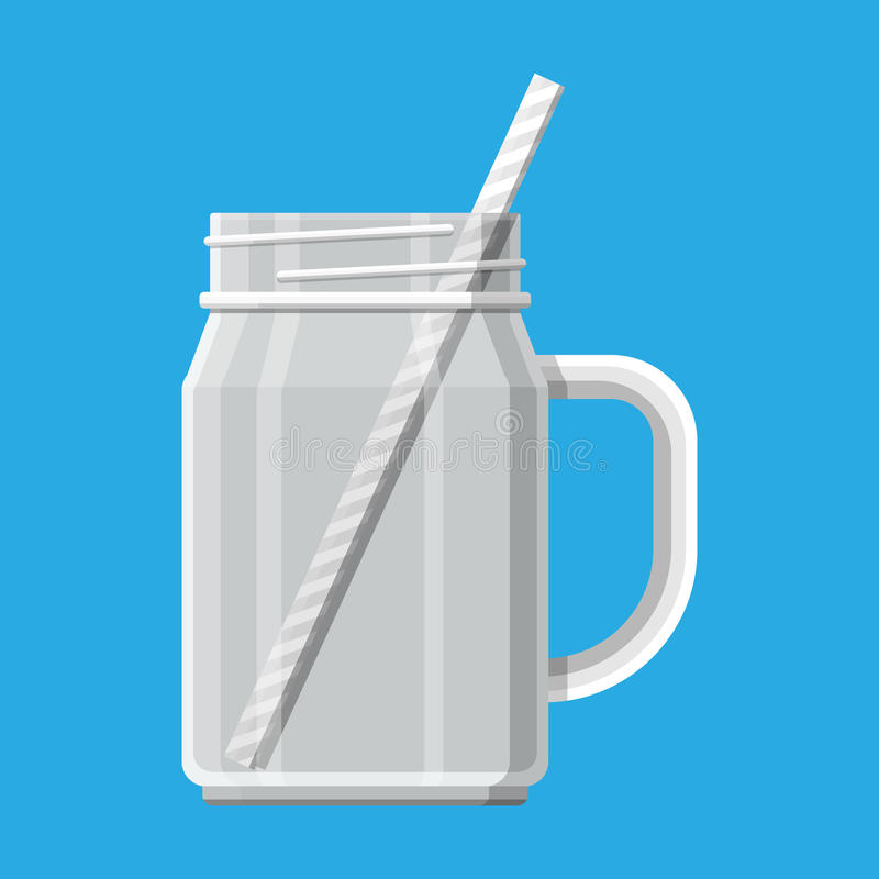 Empty jar for smoothies with striped straw vector illustration