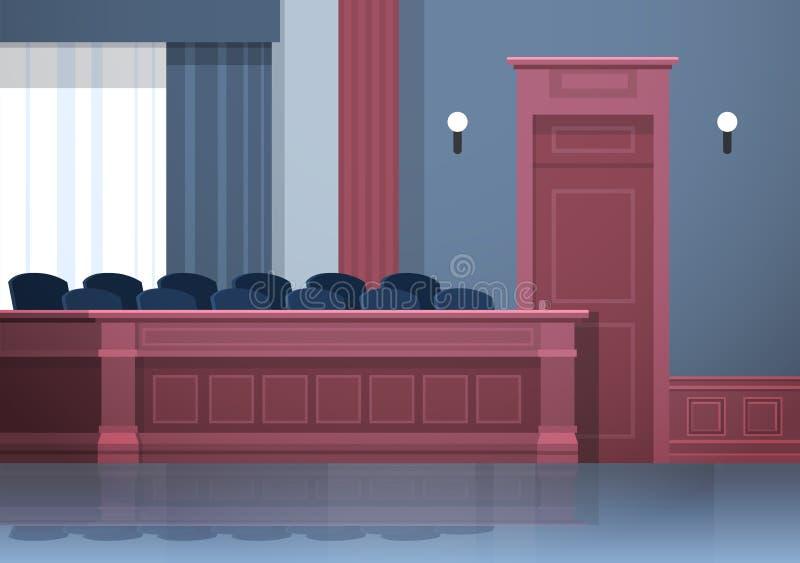 Empty jury box seats modern courtroom interior justice and jurisprudence concept horizontal. Vector illustration stock illustration