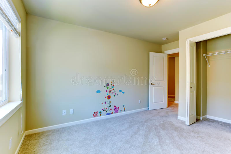 Download Empty Kids Room With Painted Wall Stock Image
