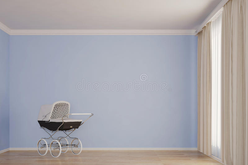 Empty kids room with stroller. Blue wall royalty free illustration
