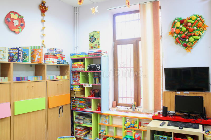 Empty kindergarten classroom. In Romania royalty free stock photography