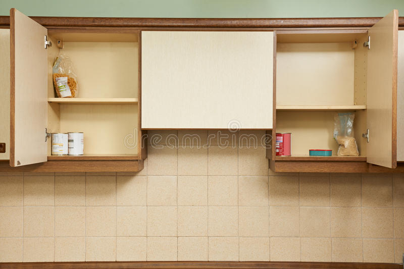 Empty Kitchen Cupboards. Still Life Of Empty Kitchen Cupboards stock photo