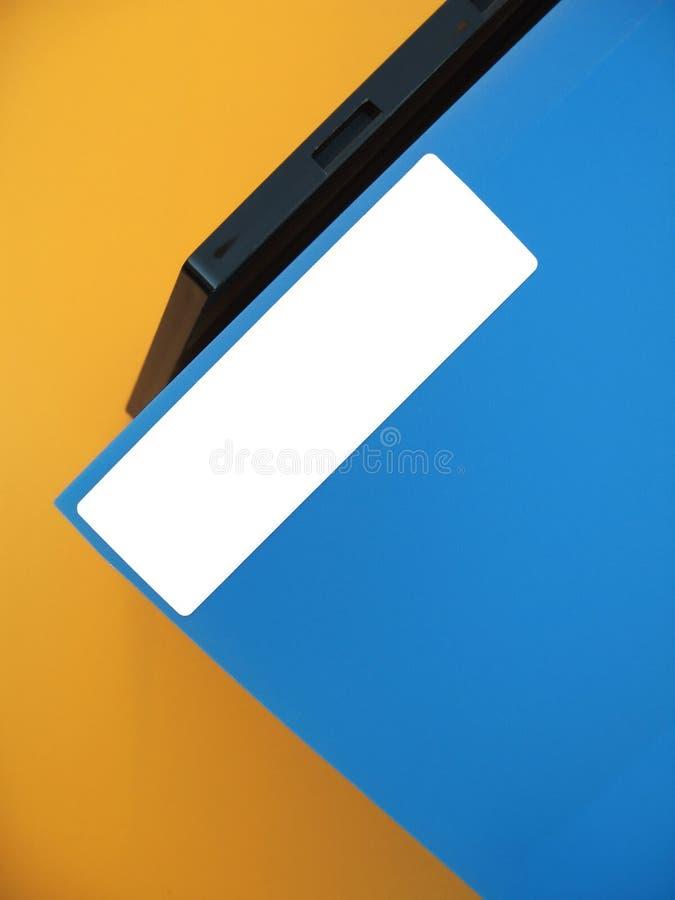 Empty Label On Blue Folder Royalty Free Stock Photo