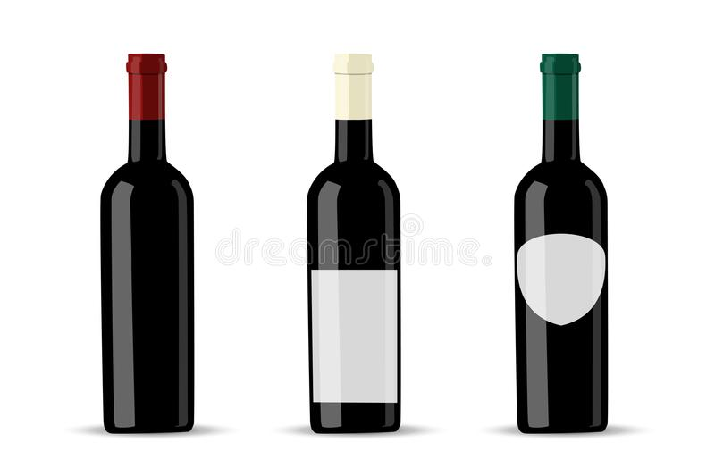 Vector dark bottle set template. Empty label for packaging design. stock illustration