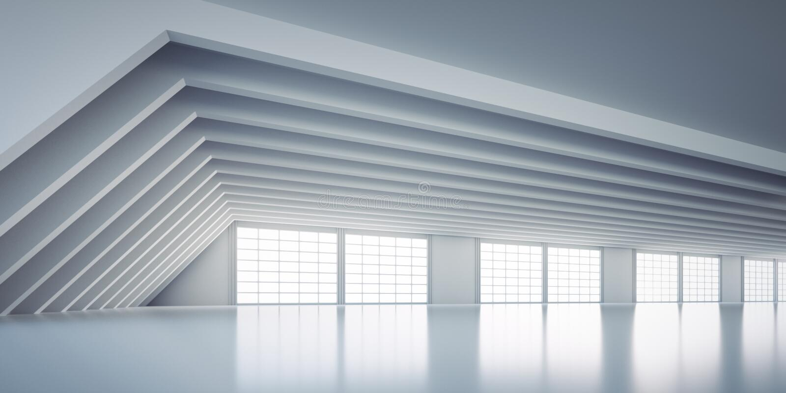 Empty large white industrial warehouse. In a factory with big windows - reflections on the floor vector illustration