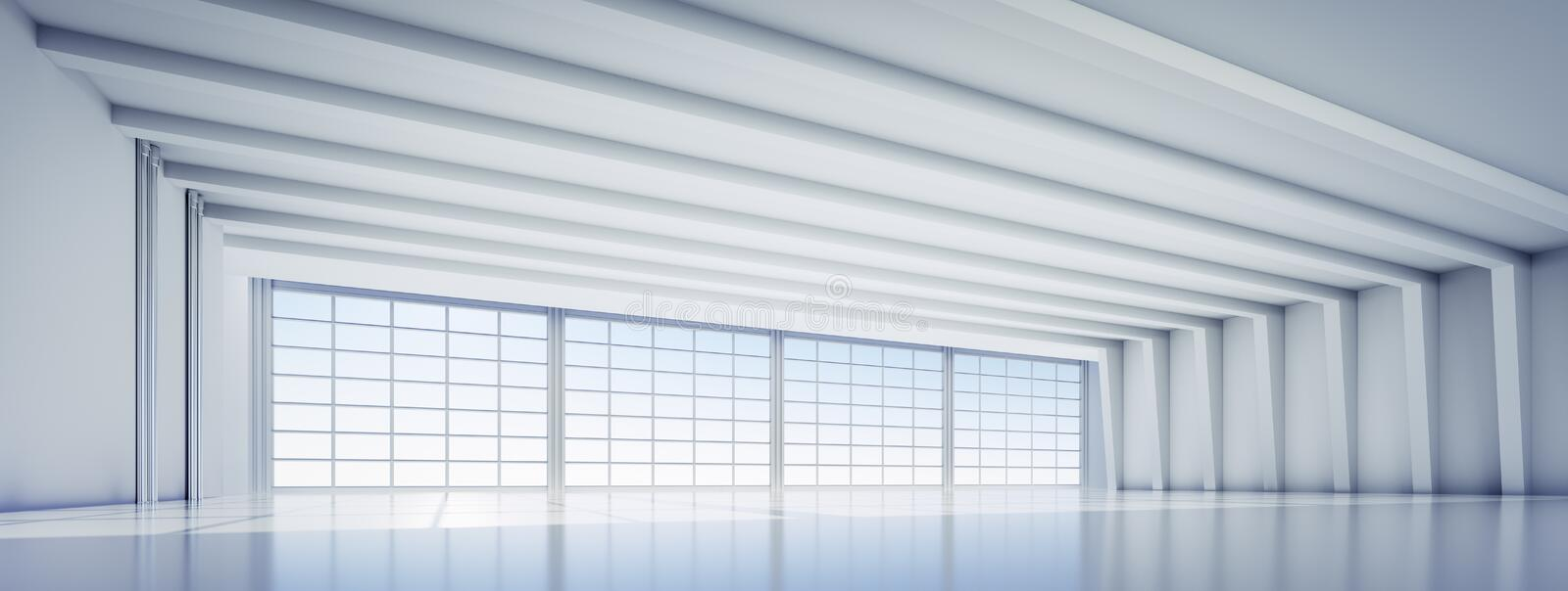 Empty large white industrial warehouse stock photos