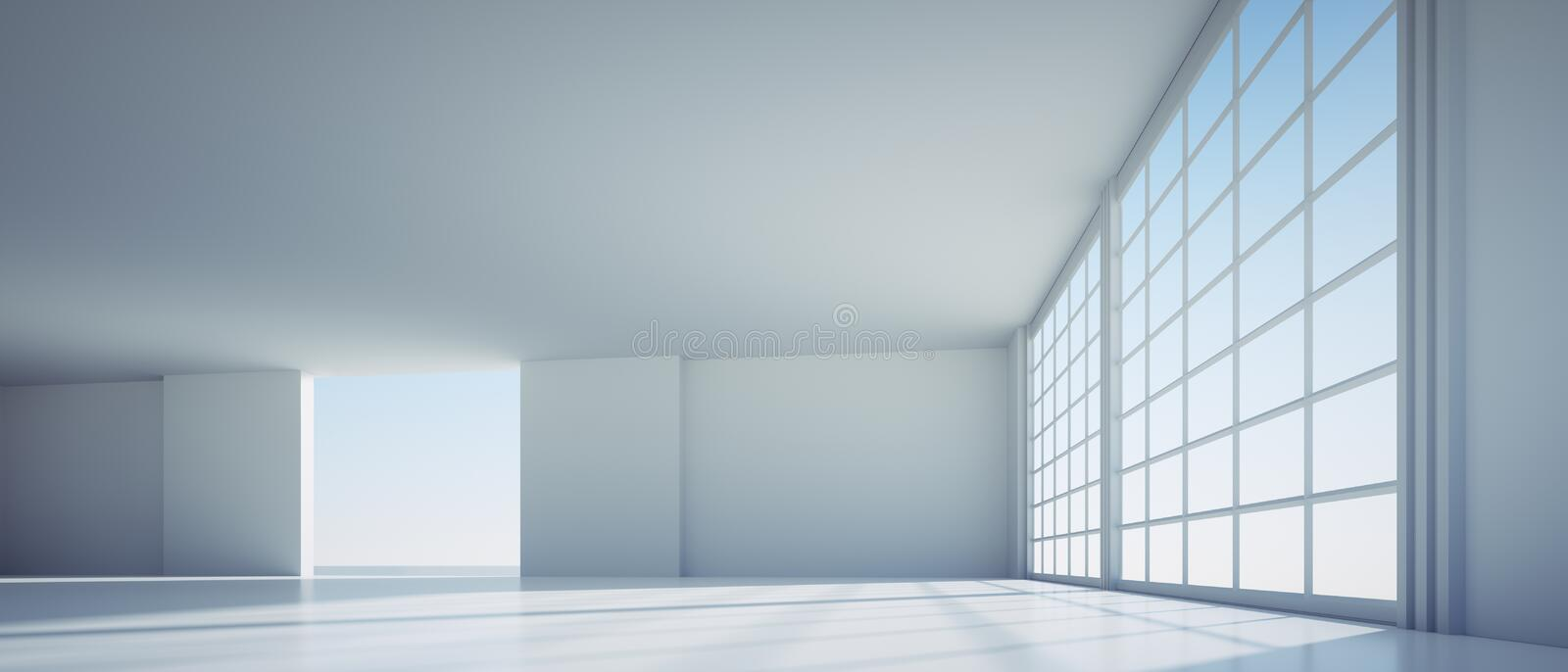 Empty large white industrial warehouse. In a factory with big windows - sunlight on the floor vector illustration