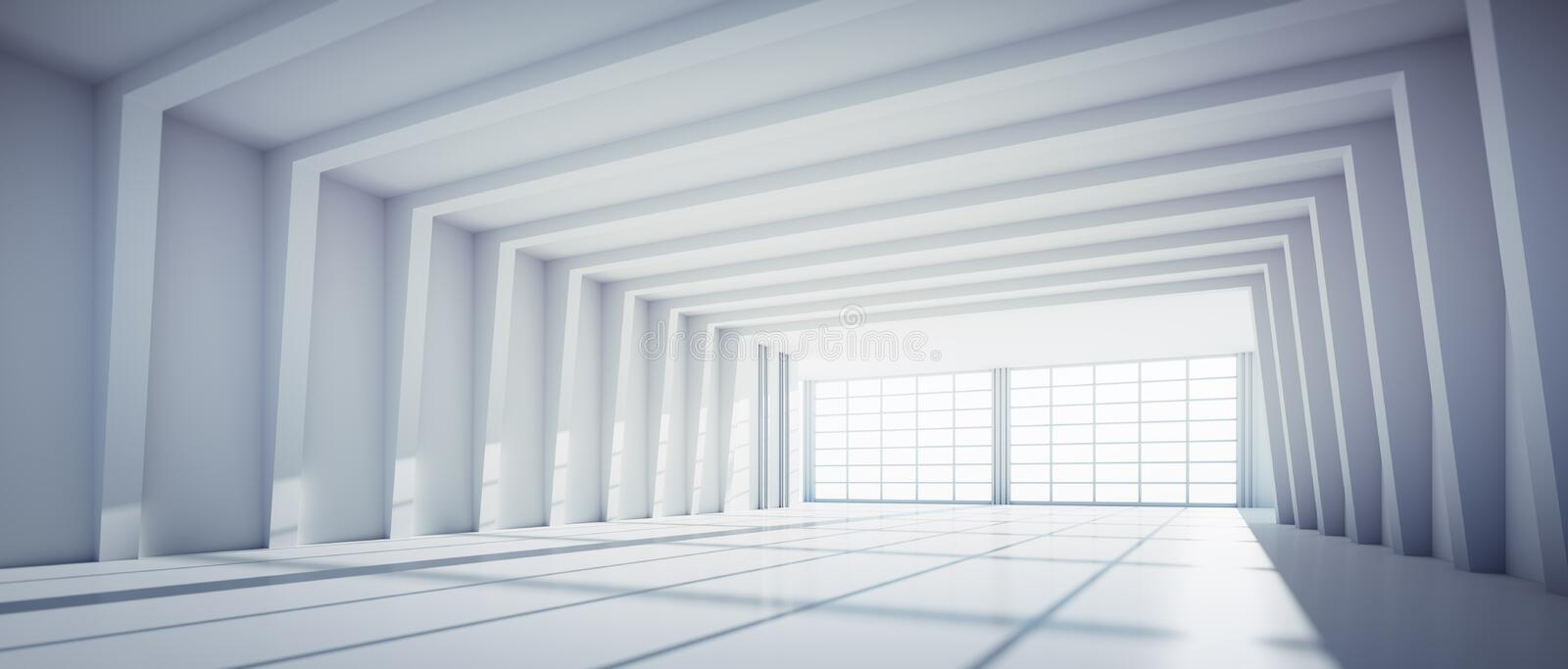 Empty large white industrial warehouse. In a factory with big windows - sunlight on the floor stock illustration